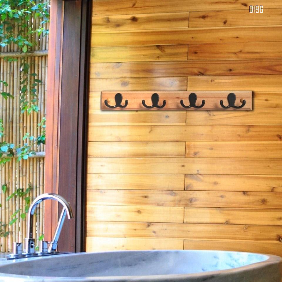 Household wooden  double hook coat rack -4 double hooks - wall hanging - decorative home storage - entrance  foyer corridor bathroom bedroom railing - high quality beech