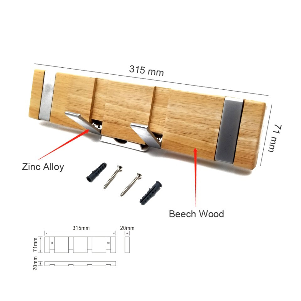 4 hook wooden  floating skateboard beech hangers – modern, stylish, space-saving hangers with 4 retractable zinc alloy hooks for hanging jackets, scarves, wallets, etc.