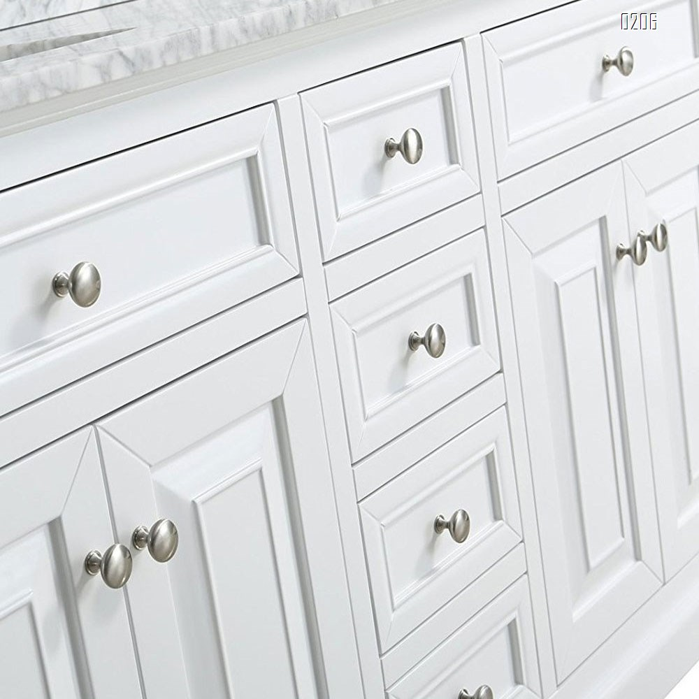 6 Pack Kitchen Cabinet Round Heavy drawer pulls  Knobs 6 Pack Brushed Nickel Cabinet Knobs  (31mm) Cupboard Door Heavy Knobs Silver Kitchen Hardware for Bathroom Drawer