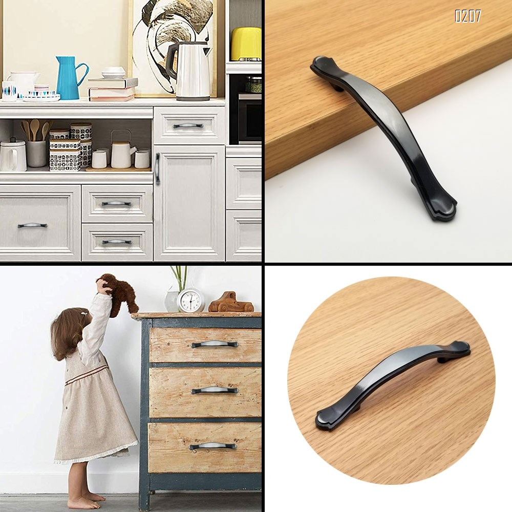 Wire Drawing Black Cabinet Pulls 131mm Length,6 Pack Modern Kitchen Cabinet Handles Hardware Cupboard Handles Zinc Alloy Drawer Handles for Kitchen Cabinet and Furniture Handle Pull(76 mm Hole Centers)(6 Pieces