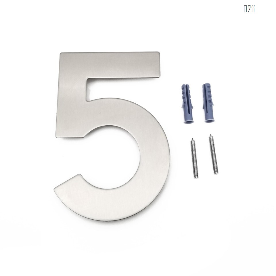 6 inch. Brushed 304 Stainless Steel Large Floating Modern House Number 0-9