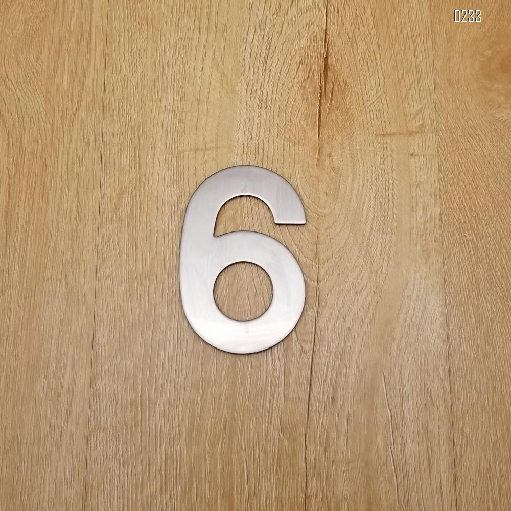 4 Inch House Numbers 6, Door Address Number Stickers for House/Apartment/Floor,  304 Stainless Steel