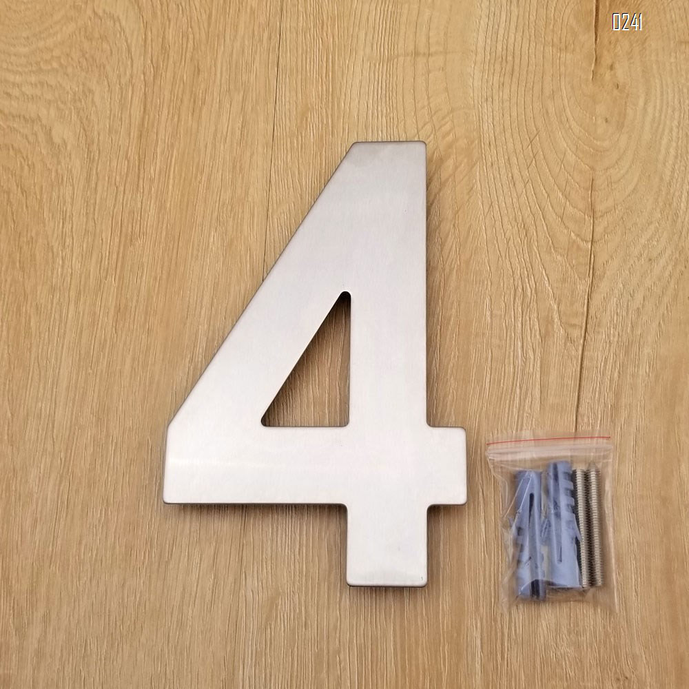 6 inch. Brushed 304 Stainless Steel Large Floating Modern House Numbers 4