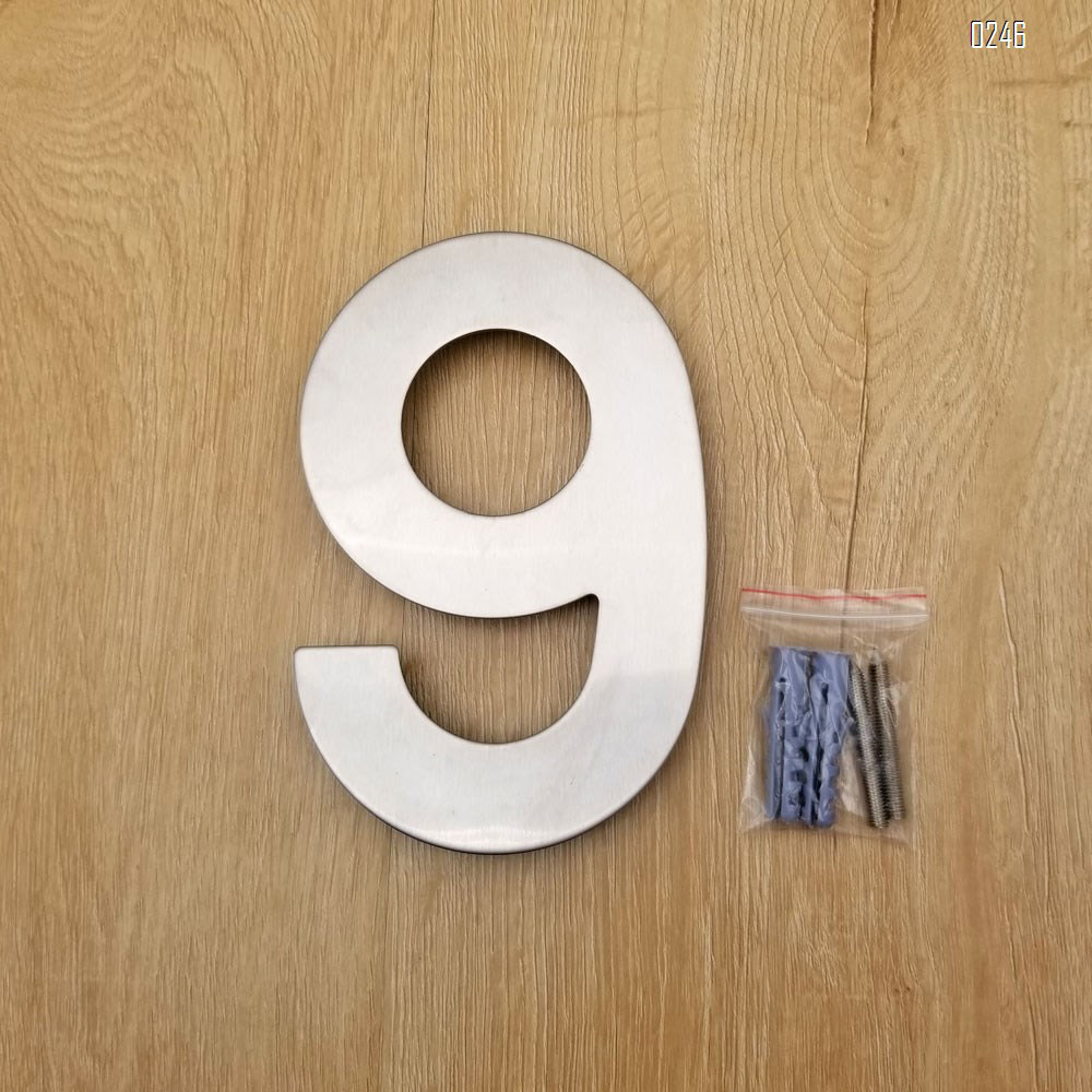 6 inch. Brushed 304 Stainless Steel Large Floating Modern House Numbers 9