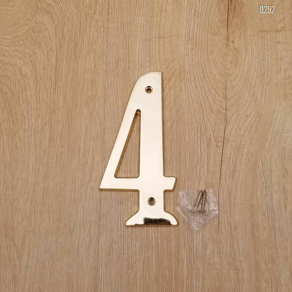 6 inch Copper Plaque for Outdoor Address Plate of Household Door Brass Number in 140 mm Grand Modern Door Number Hotel House Number 4