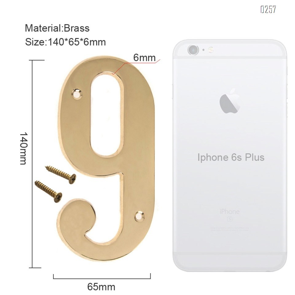6 inch Copper Plaque for Outdoor Address Plate of Household Door Brass Number in 140 mm Grand Modern Door Number Hotel House Number 9
