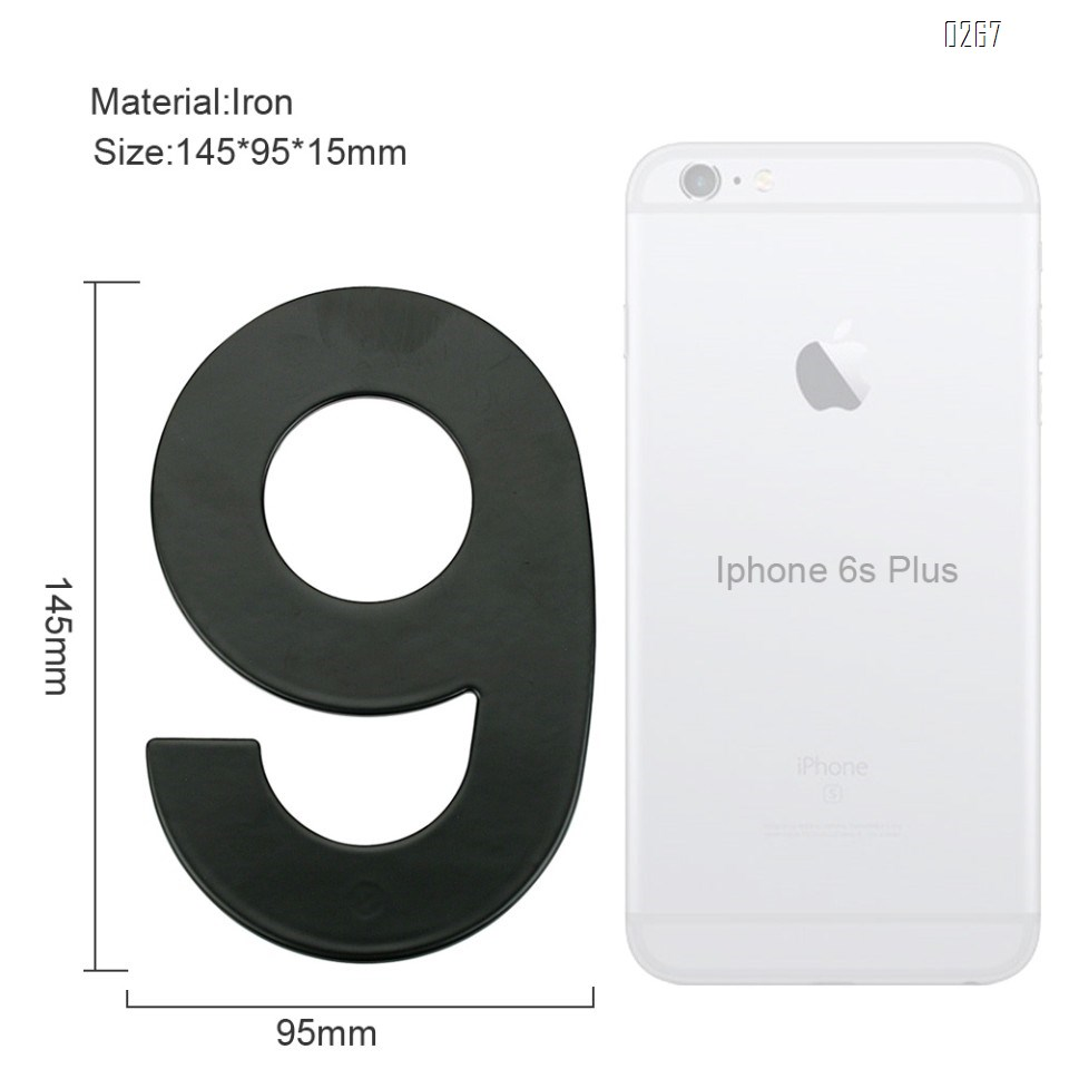 6 inch 145mm Big Modern House Number Hotel Home Door Room Number Outdoor Address Plaque Iron House Number 9