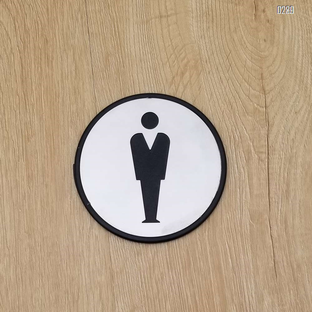 Self Sticker Round Men Sign  Restroom, Bathroom Door Sign for Offices, Businesses,Stainless Steel Plus Plastic bathroom signs