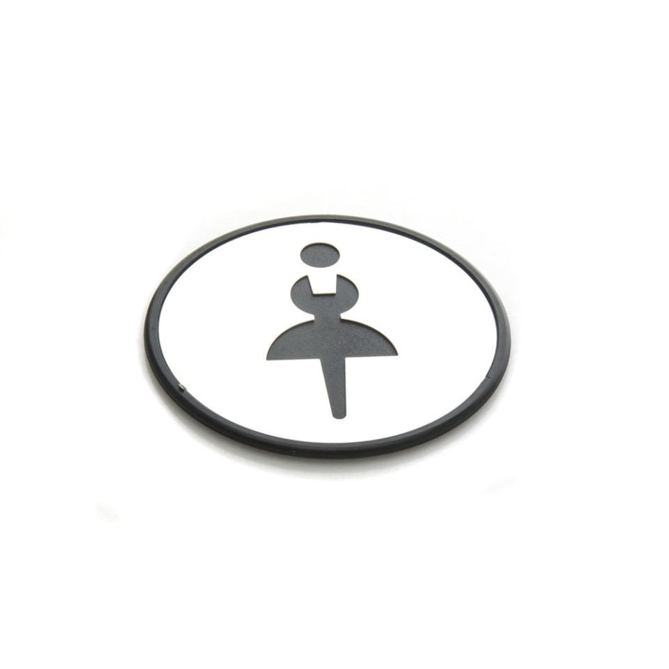 Self Sticker Round Women Sign  Restroom, Bathroom Door Sign for Offices, Businesses,Stainless Steel Plus Plastic bathroom signs