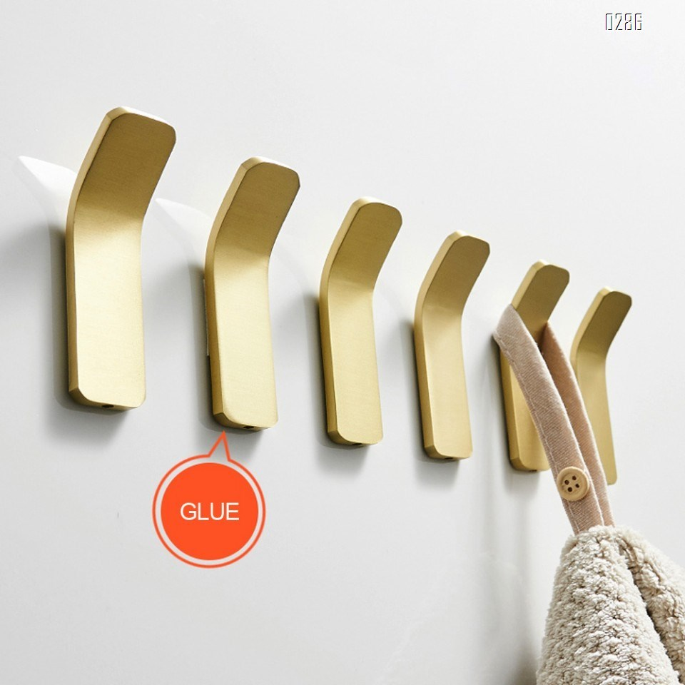 Home Brass Bath Towel Hooks Super Heavy Duty Wall Mount Gold Finish Hook, Fit for Bedroom,Living Room, Bathroom and Fitting Room, Office,Non perforated brass brushed gold hook