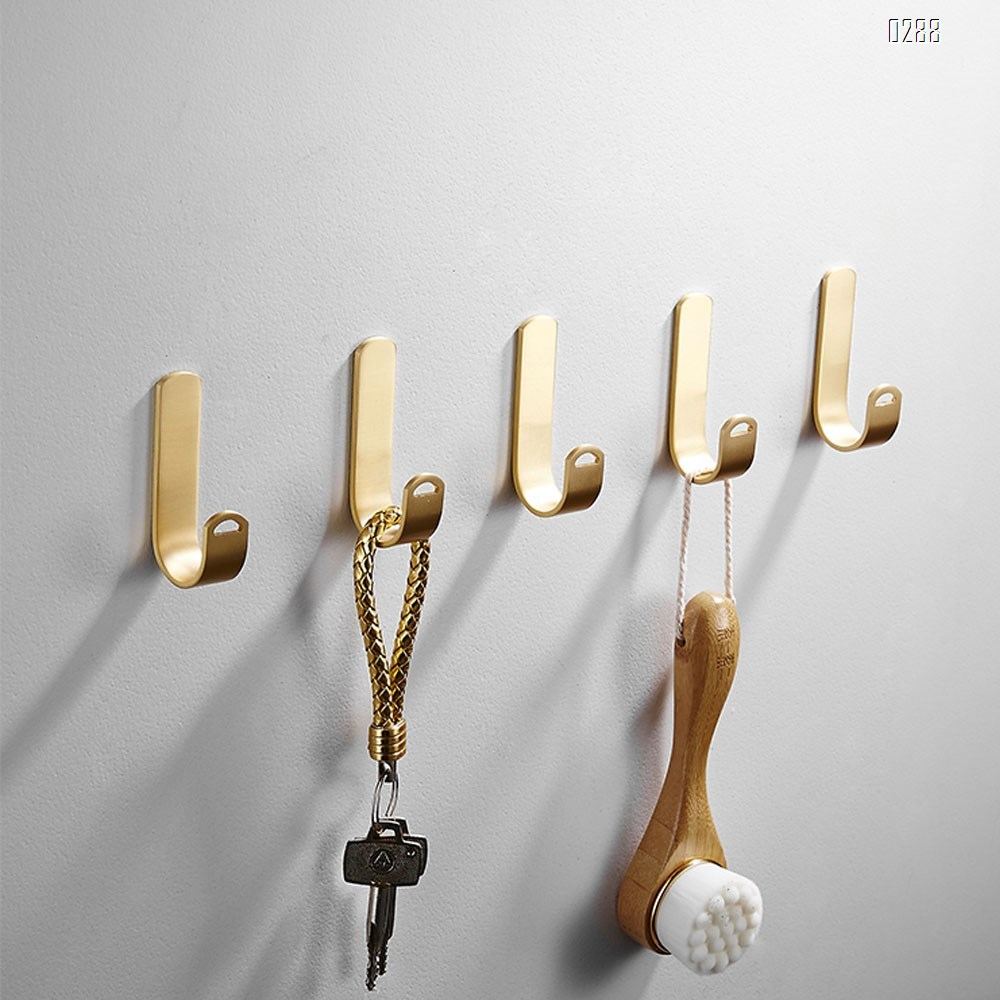 Metal Adhesive Wall Hooks, Punch-Free Installation Brass Hooks, Nordic Style Bathroom Kitchen Dining Room Wall-Mounted Hooks Hanger Door Towel Holder Rack.