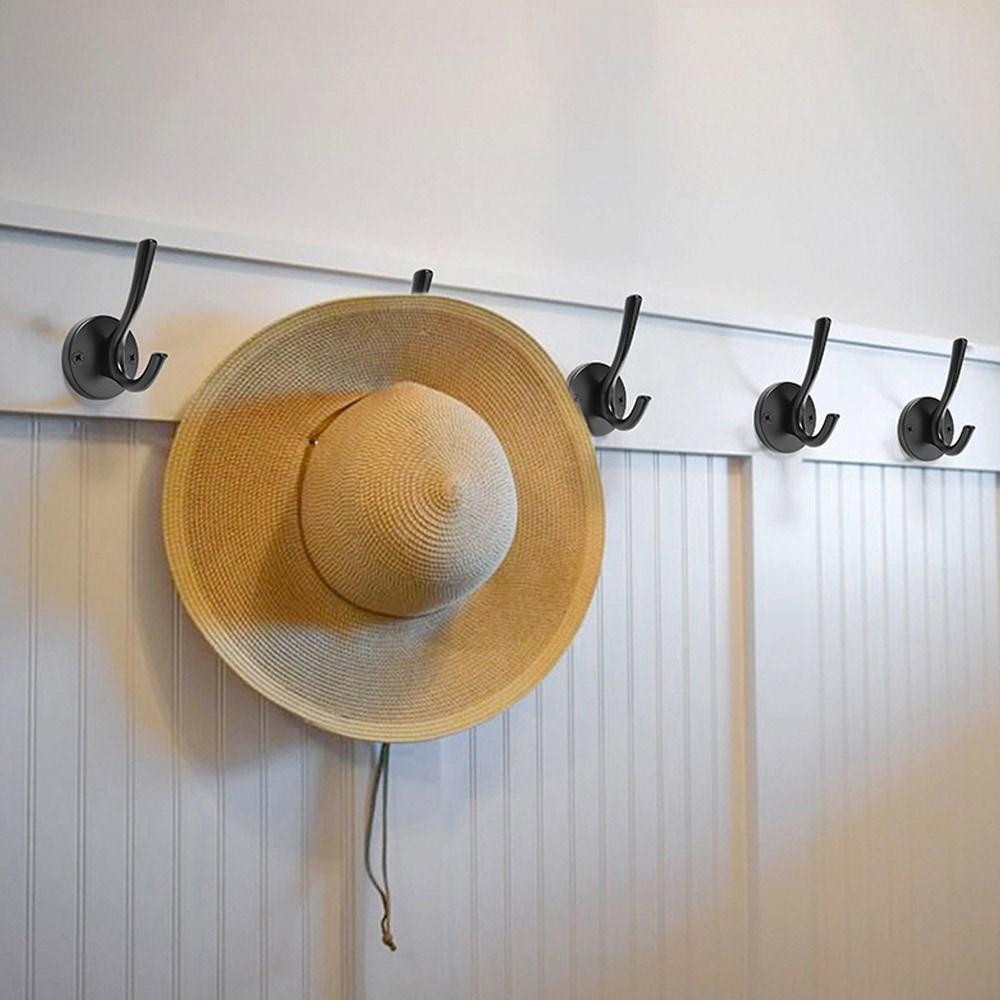 Heavy-Duty Decorative Wall Mounted Metal Matte Black Coat Hooks| Rustic Double Prong Robe Hook, Vintage Hat Hook, Towel Hook, Backpack Hook, Scarf Hooks