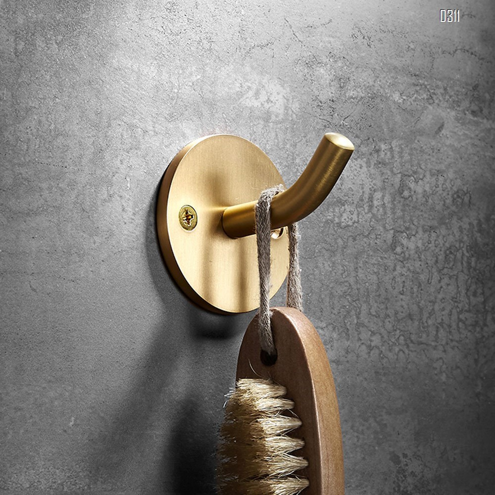 Solid Brass Coat Hook Towel Robe Clothes Hook for Bath Kitchen Garage Heavy Duty Wall Mounted