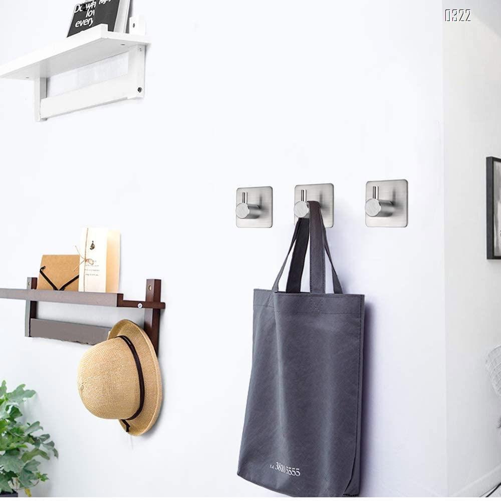 Adhesive Hooks Heavy Duty Wall Hooks Waterproof Stainless Steel Hooks for Hanging Coat, Hat,Towel Robe Hook Rack Wall Mount- Bathroom and Bedroom