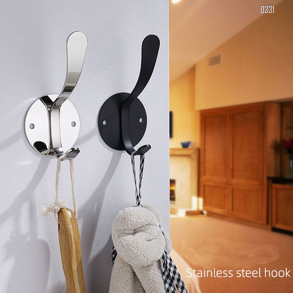Black Clothes Hooks of Decorative Wall Mounted Stainless Steel Hooks Wall Hooks Single Hook for Home Towel Backpack Coat Hat Hang Living Room Bedroom Door Bathroom Wall Hangers