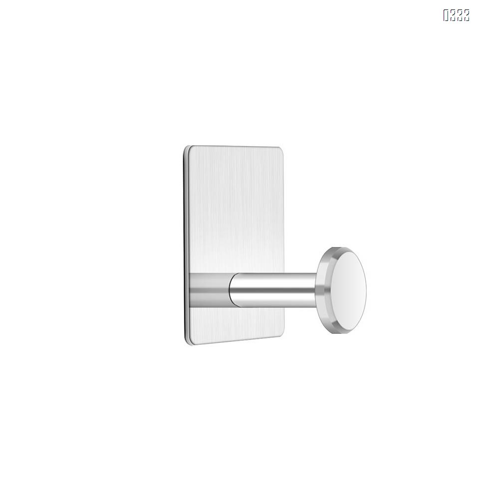 square Self adhesive Coat Hook Stainless Steel Towel Clothes Robe Hook for Bathroom Kitchen Garage  Wall Mounted