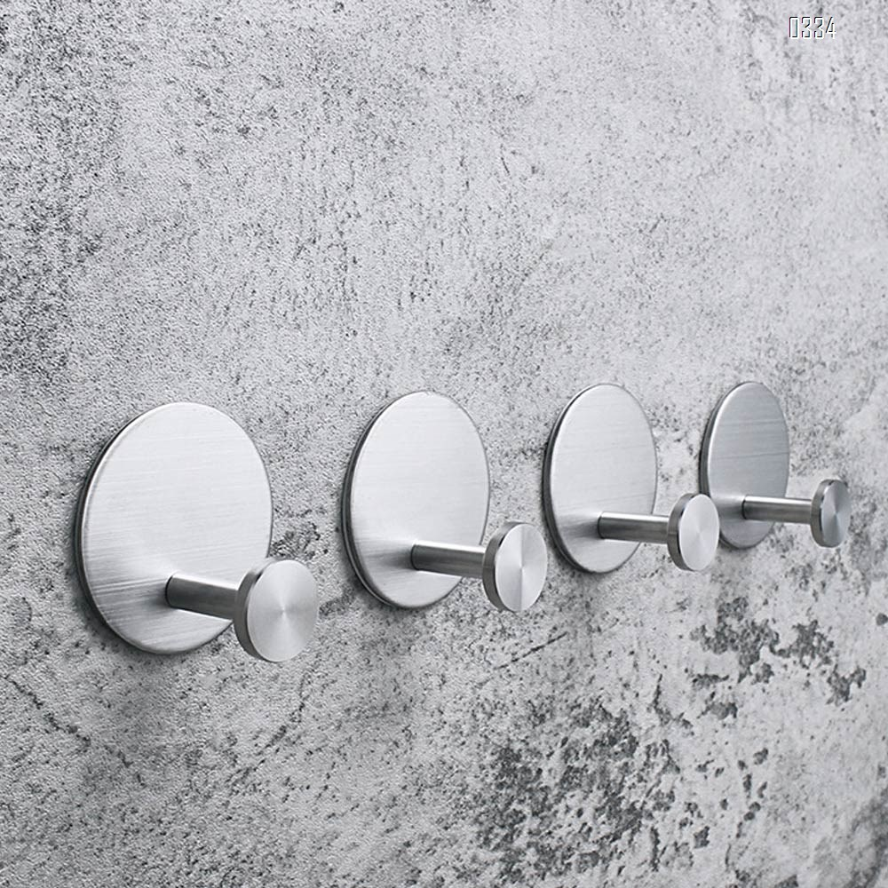 Round Self adhesive Coat Hook Stainless Steel Towel Clothes Robe Hook for Bathroom Kitchen Garage  Wall Mounted