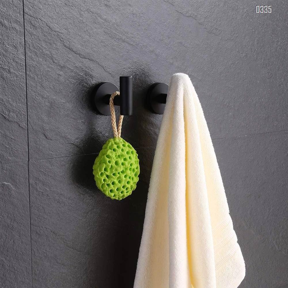 Towel Coat Hook Matte Black SUS304 Stainless Steel Bathroom Clothes Cabinet Closet Sponges Robe Hook Wall Mounted Round Kitchen Heavy Duty Door Hanger
