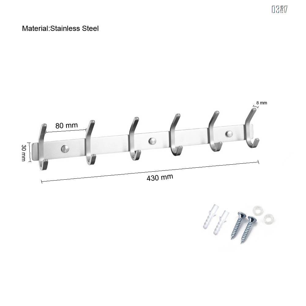 Coat Rack Wall Mounted - 6 Double Hooks, Heavy Duty, Stainless Steel, Metal Coat Hook Rail for Coat Hat Towel Purse Robes Mudroom Bathroom Entryway