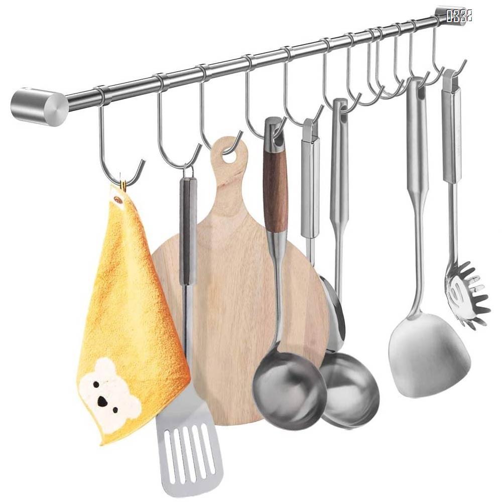 Kitchen Utensil Hangers Hooks, More Thick Stainless Steel Kitchen Utensil Wall Hanging Rod Hanger Rack Wall Mount Pot Rack Utensil Hanging Rack (10 Sliding Hooks).