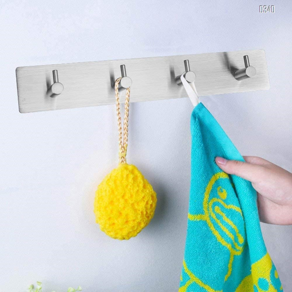 Self Adhesive Wall Mounted Hook Stainless Steel Coat Rack Shelf Rail with 3 Hooks  Door Hanging Holder Waterproof Hanger for Robe, Towel, Keys, Home, Kitchen