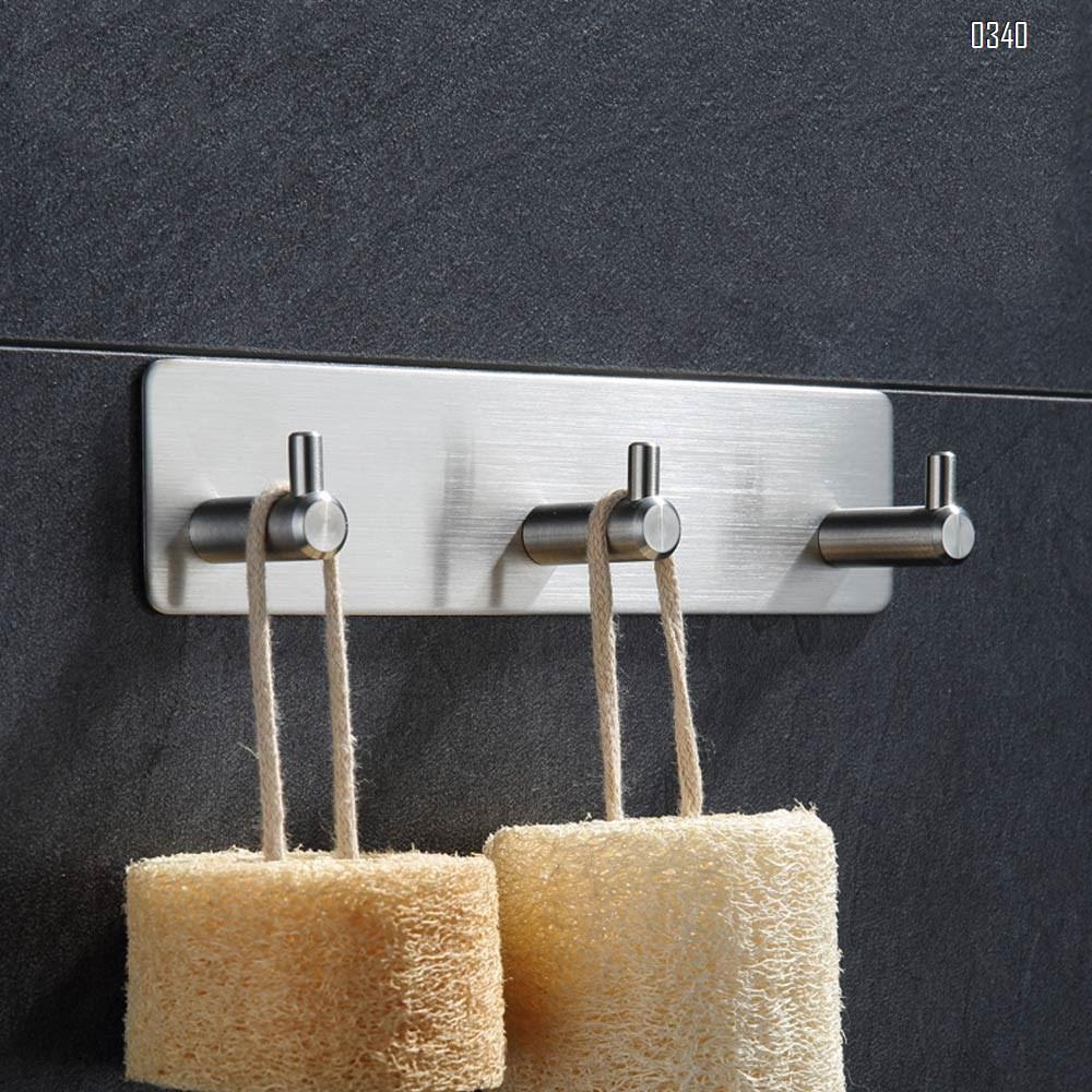 Self Adhesive Wall Mounted Hook Stainless Steel Coat Rack Shelf Rail with 3 Hooks  Door Hanging Holder Waterproof Hanger for Robe, Towel, Keys, Home, Kitchen