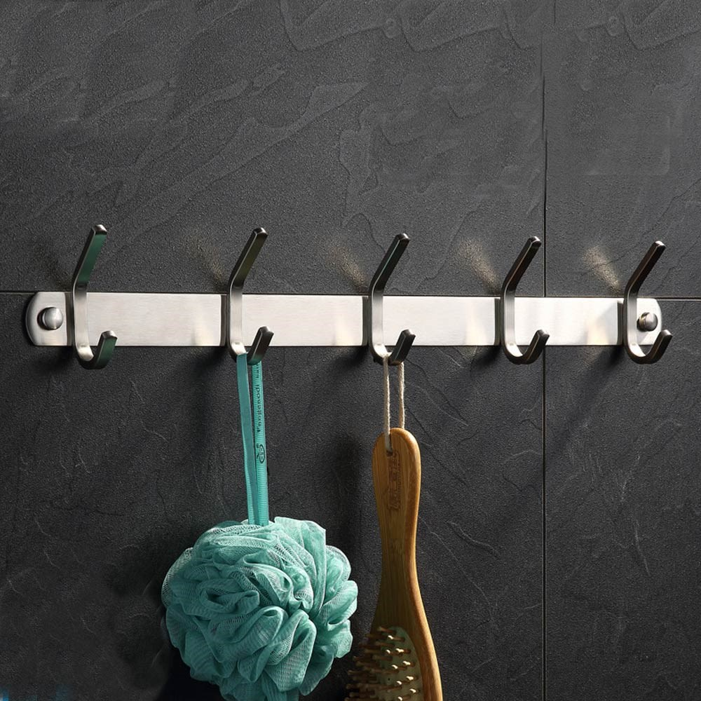 Coat Hook SUS304 Stainless Steel Wall Mounted Coat Rack Towel Hook with 5 Heavy Duty Double Hooks,Wall Mount