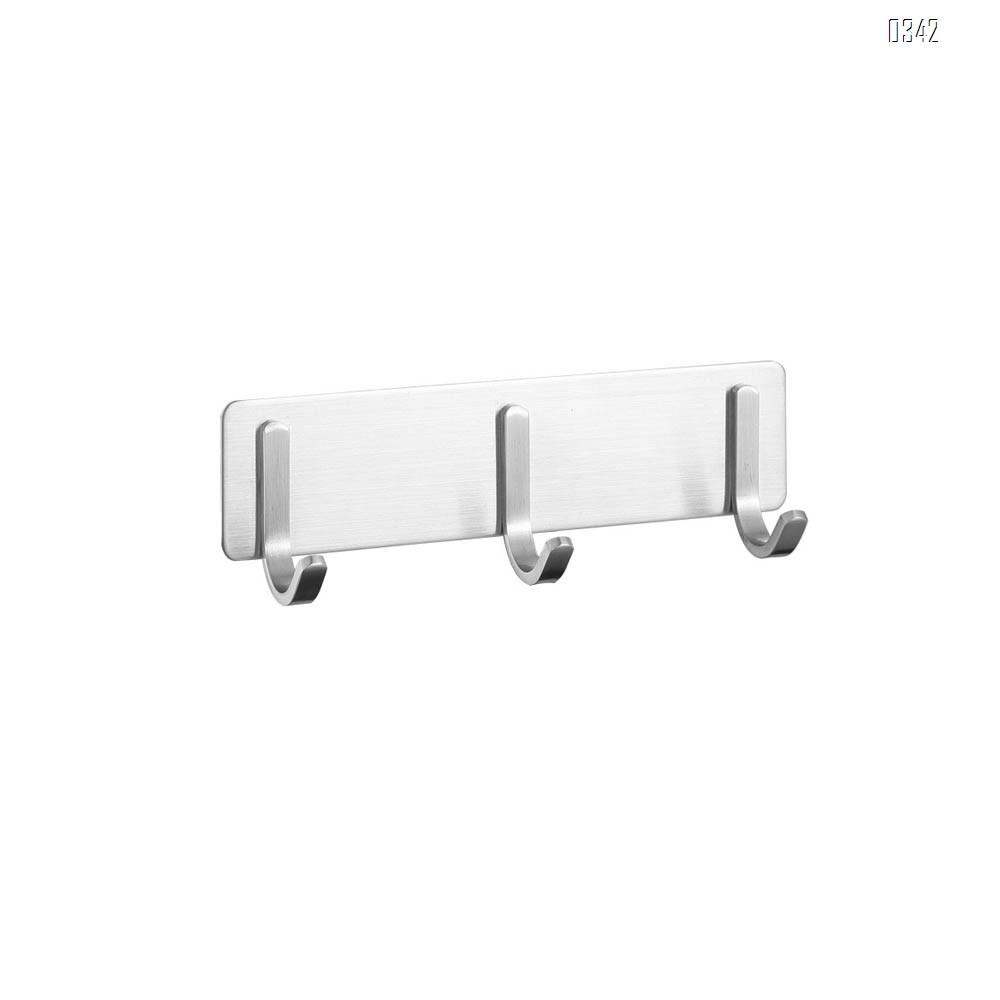 Self Adhesive Coat Hook Rack Wall Mounted Brushed Nickel SUS304 Stainless Steel Bath Towel Hook Coat Rail Double 3 Hooks
