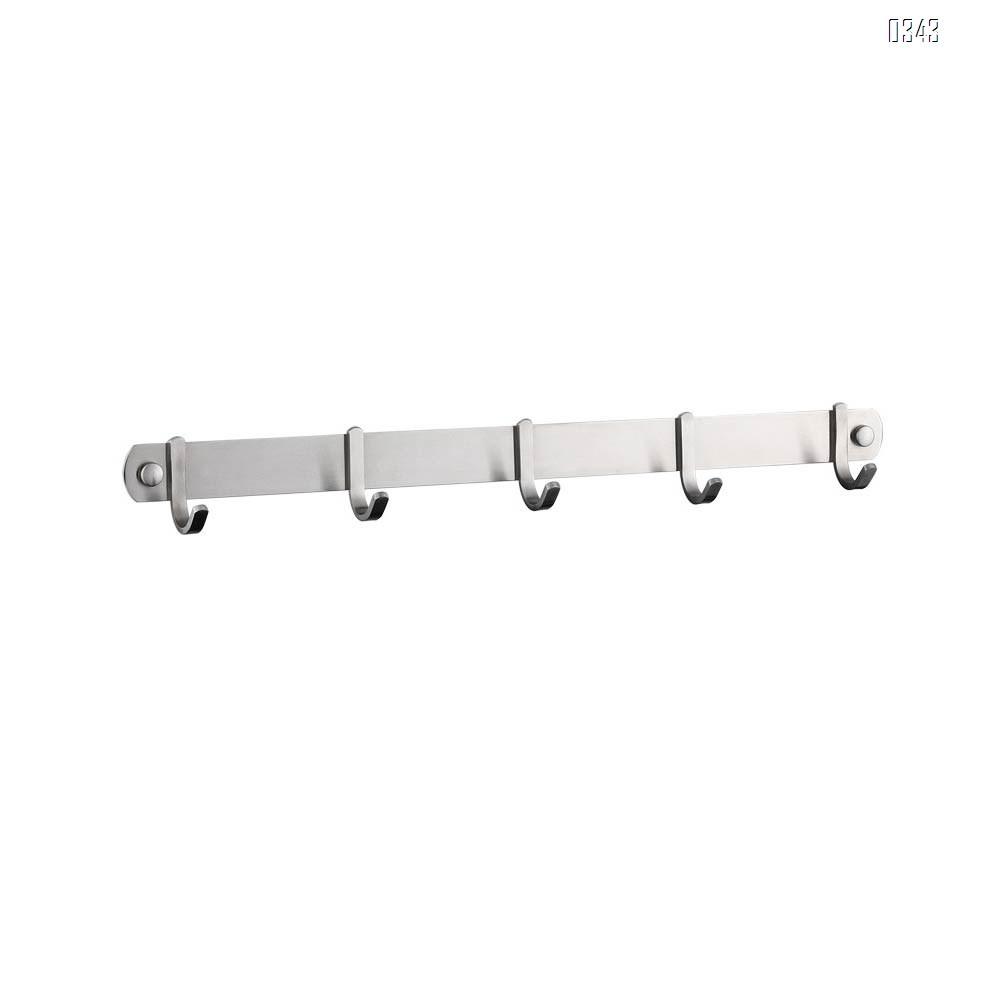 Coat Hook Rack Wall Mounted 18-Inch SUS304 Stainless Steel Brushed Nickel Hook Rail with 5 Heavy Duty Hooks