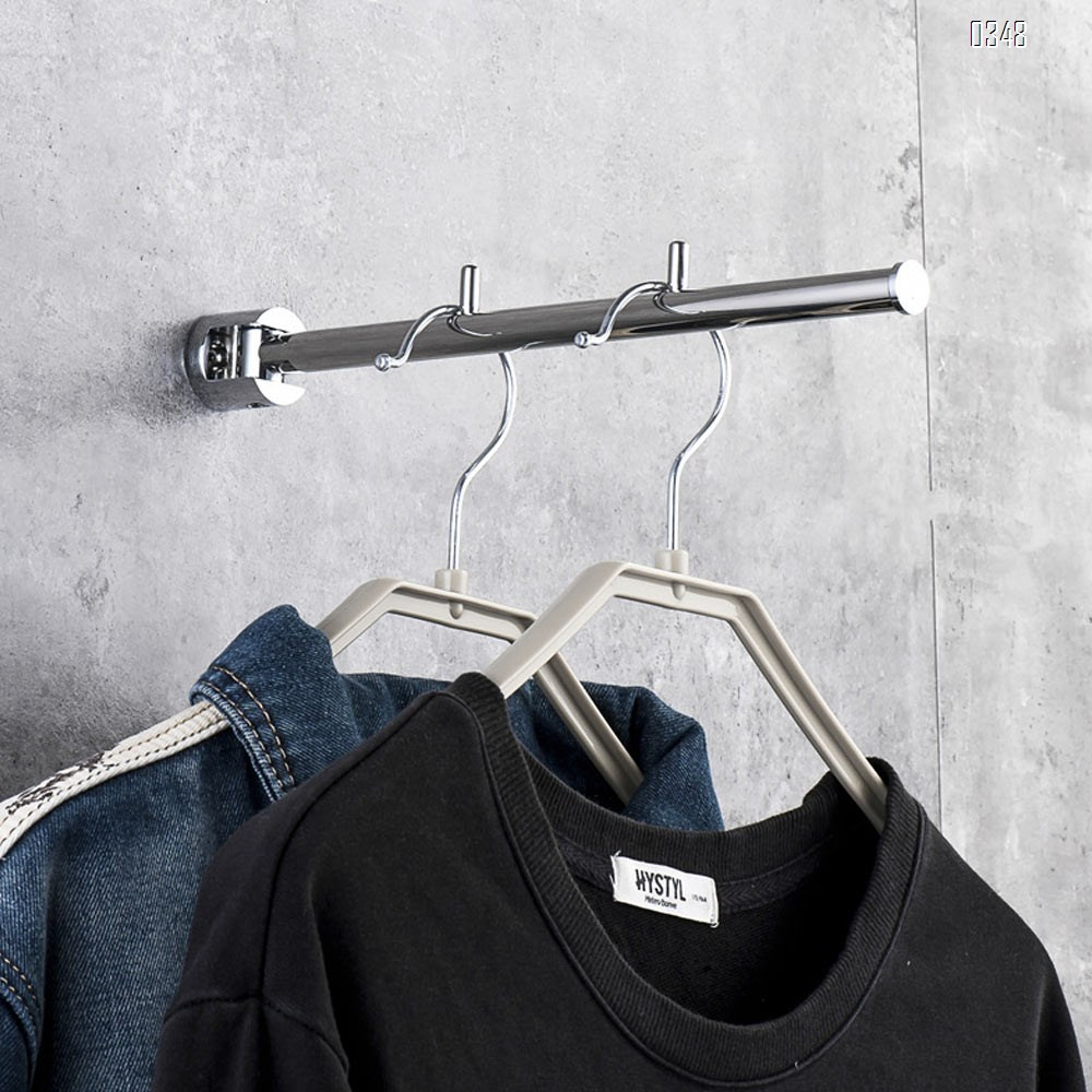 Stainless Steel with Swing Arm Clothes Hanger 90 Degrees Folding Wall Mounted Rack Clothes Hook Clothing Hanging System Closet Storage Organizer Heavy Duty Drying Rack Hanger