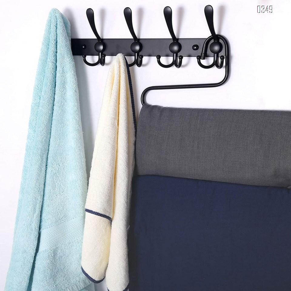Black Coat Rack Wall Mounted - 5 Tri Hooks, Heavy Duty, Stainless Steel, Metal Coat Hook Rail for Coat Hat Towel Purse Robes Bathroom Entryway