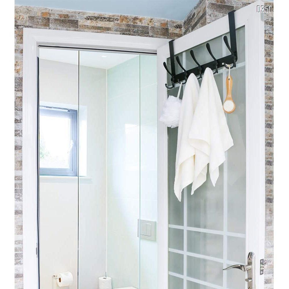 Over The Door Hook 5 Tri Hooks, Assembly Heavy Duty Over Door Hook for Hanging Coats Clothes Towels, Over Door Hanger for Bathroom Bedroom, Black