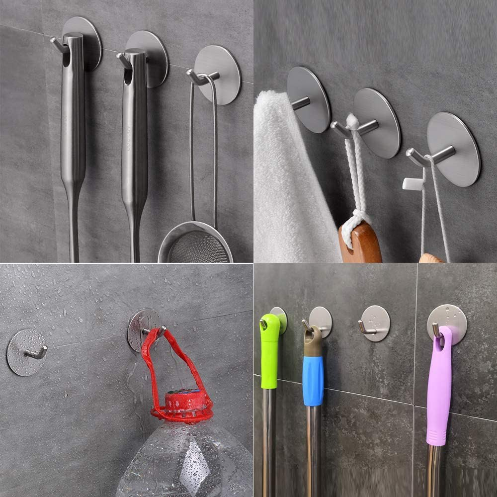 Self Adhesive Hooks Wall Hooks  for Hanging Towels Robes Coats Apply to Bathroom Home Kitchen Office