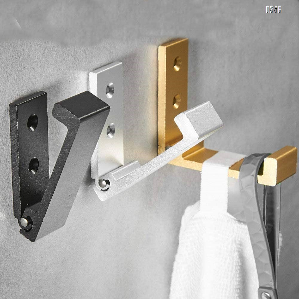 Space Aluminum Folding Clothes Rack Wall Mounted, Foldable Towel Wall Hanger Hooks Retractable Hook Folding Wall Rack Hook Holder for Clothes