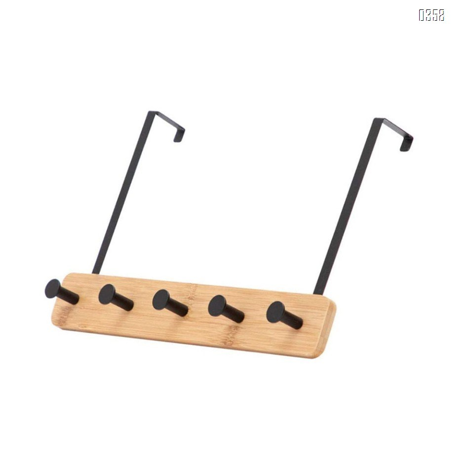 Bamboo Wood  Over The Door Coat Rack 5 Hooks Heavy Duty for Hanging for Hanging Coats Robes Bags Keys (Black)