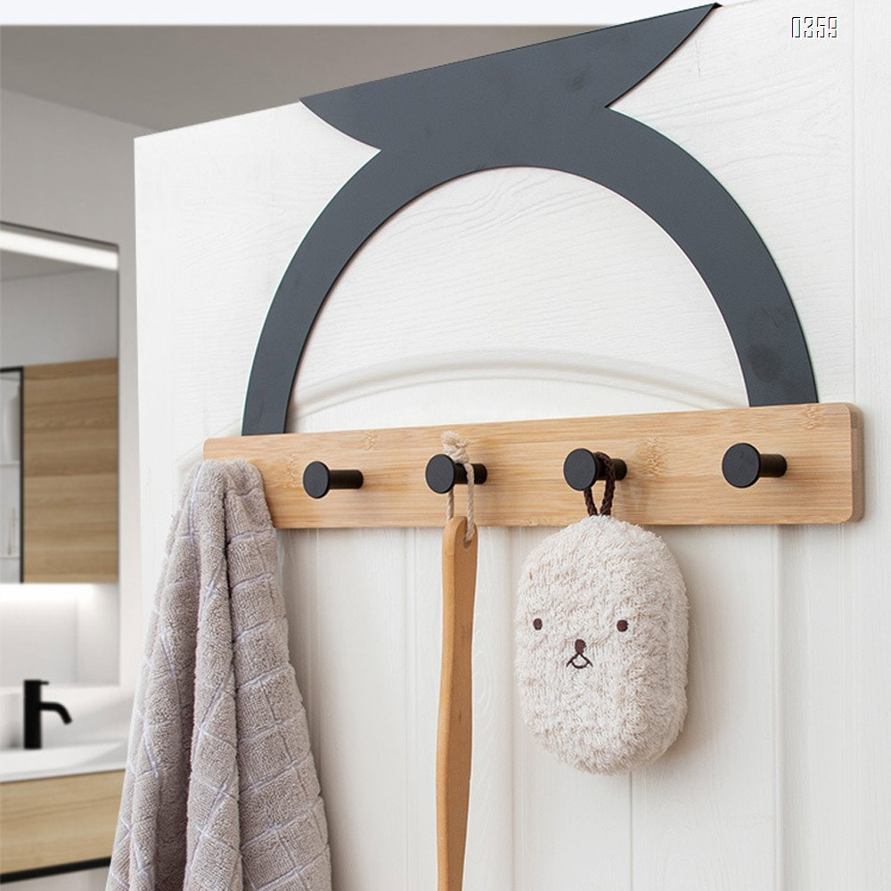Semicircular Fashion European style Bamboo Wood Over The Door Coat Rack 5 Hooks Heavy Duty for Hanging for Hanging Coats Robes Bags Keys (Black)