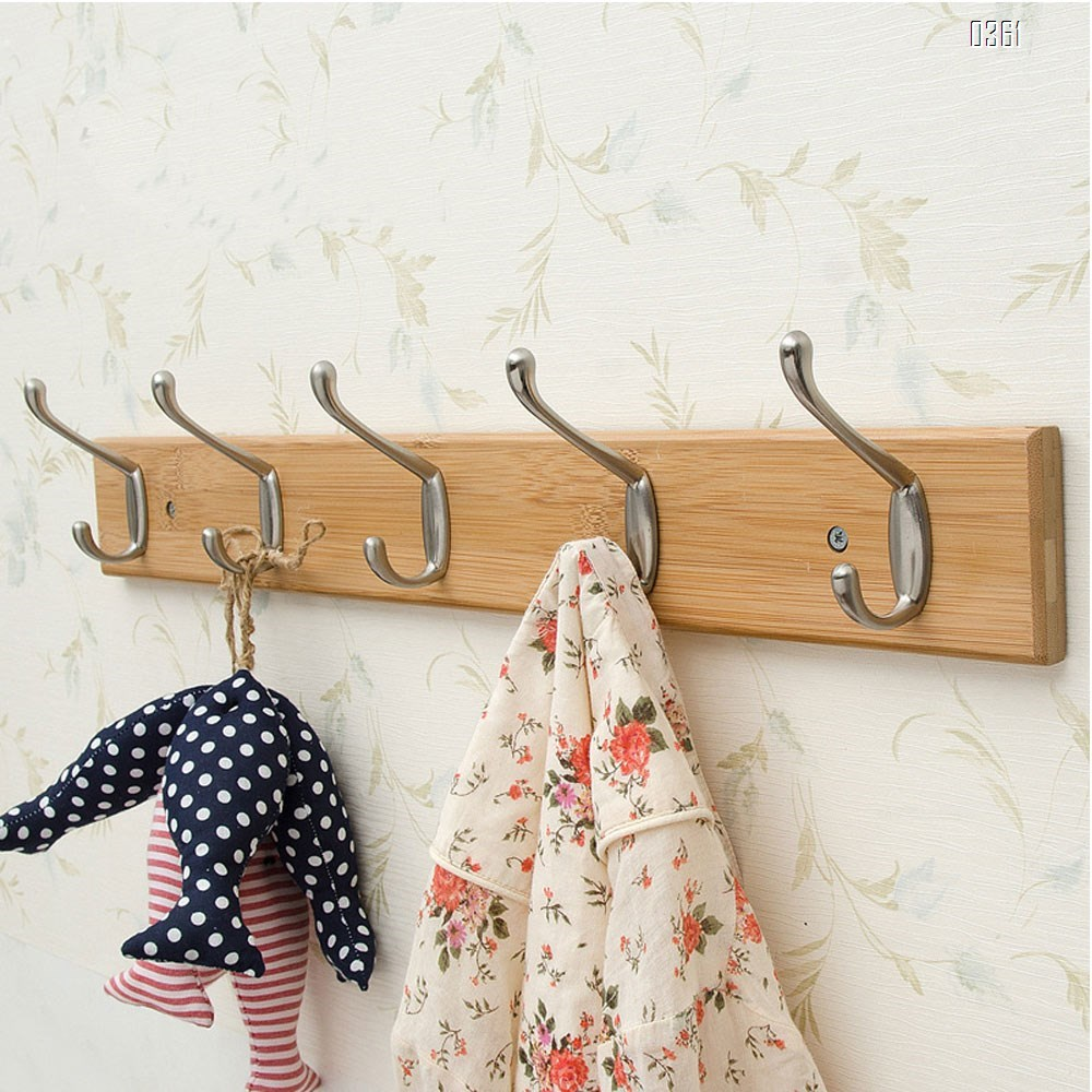 Bamboo Wall Mounted Coat Rack with 5 Rustic Chrome Heavy Duty Hooks for Entryway, Living Room, Kids Room