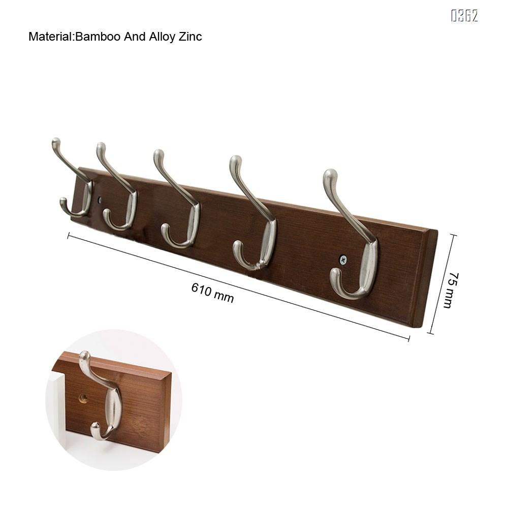 AmazonBasics Bamboo Wall Mounted Coat Rack, 5 Modern Hooks