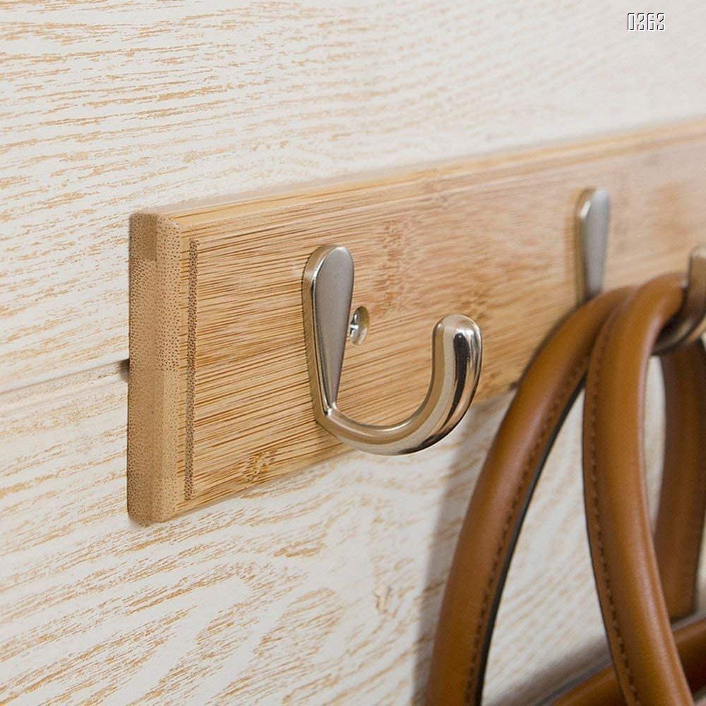 Natural Bamboo Coat Rack, Wall-Mounted Heavy Duty Coat Hooks, Towel Bag Key Holder Hanger Hook Rack for Entryway Bathroom Bedroom (5 Hooks)
