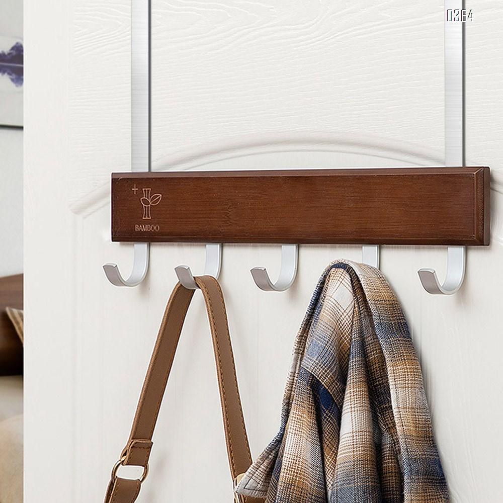 Bamboo Wood Over-The-Door Coat Towel Rack, 5 Hooks
