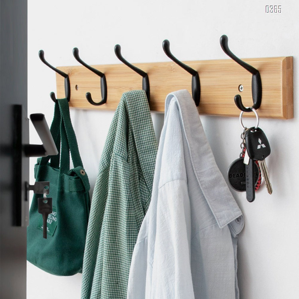 Bamboo Coat Rack Wooden Wall Mounted, Entryway Organize Hooks for Hanging Coats, Decorative for Bathroom, Bedroom, Kitchen, Mudroom