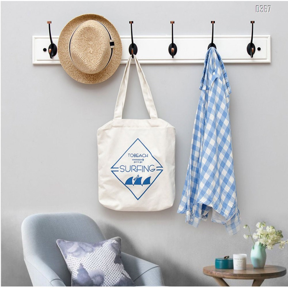 White Bamboo Wall Mounted Coat Rack - with 5 Hooks – Modern Decor for Hanging Towels, Keys, Jackets, Dog Leash for Bedroom, Hallway, Entryway, Mudroom