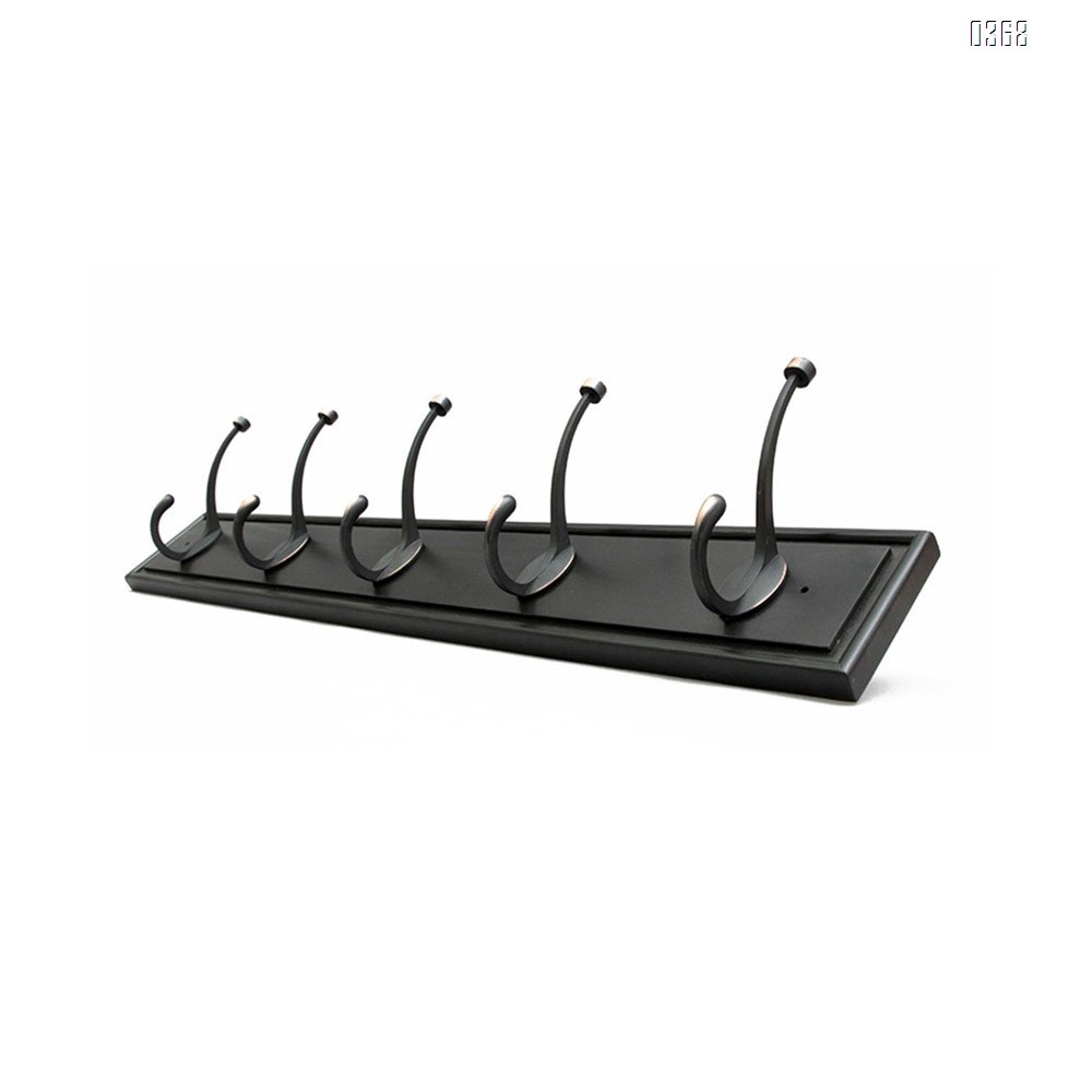 Black Bamboo Wall Mounted Coat Rack - with 5 Hooks – Modern Decor for Hanging Towels, Keys, Jackets, Dog Leash for Bedroom, Hallway, Entryway, Mudroom