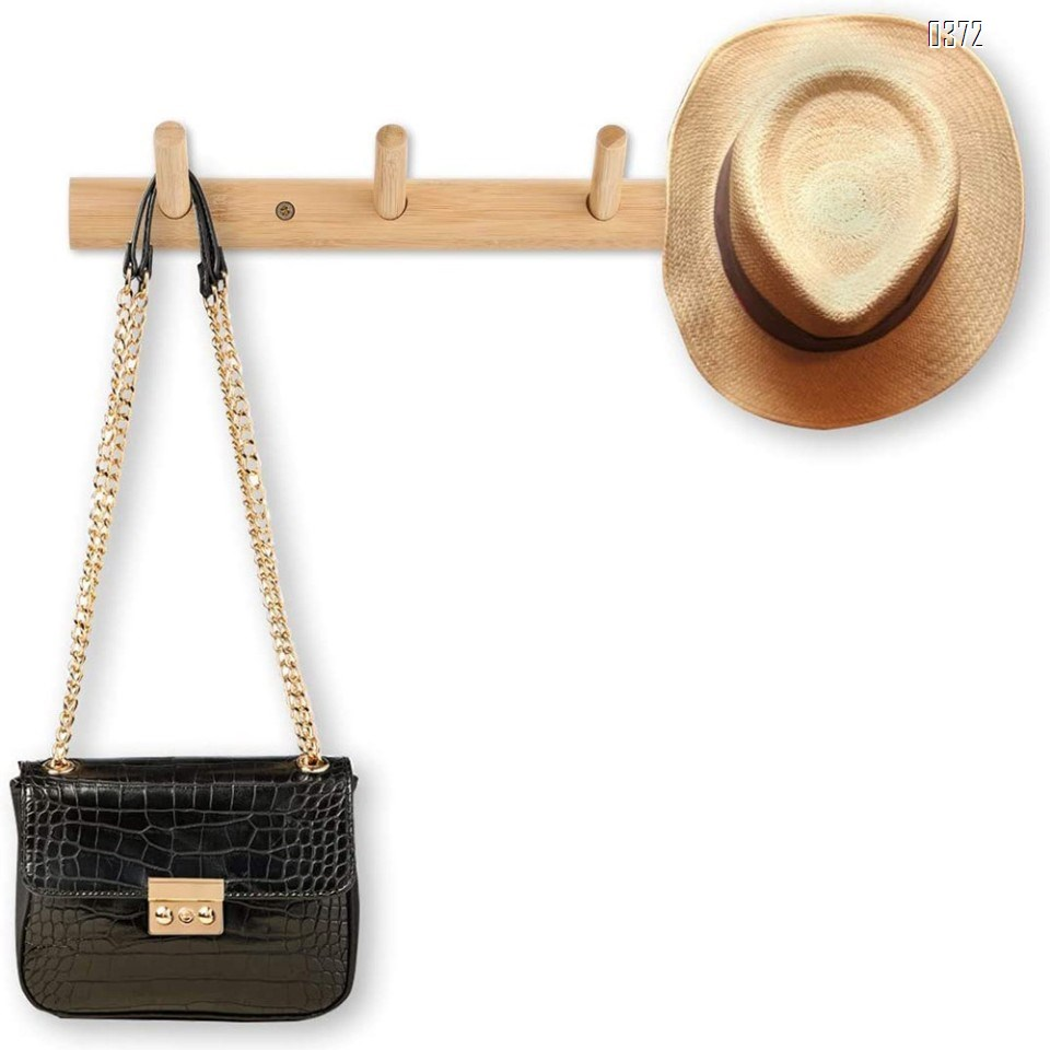 Modern Bamboo Wooden Entryway Coat And Hat Hooks | Bathroom Kitchen Towel Rack | Wall Mounted