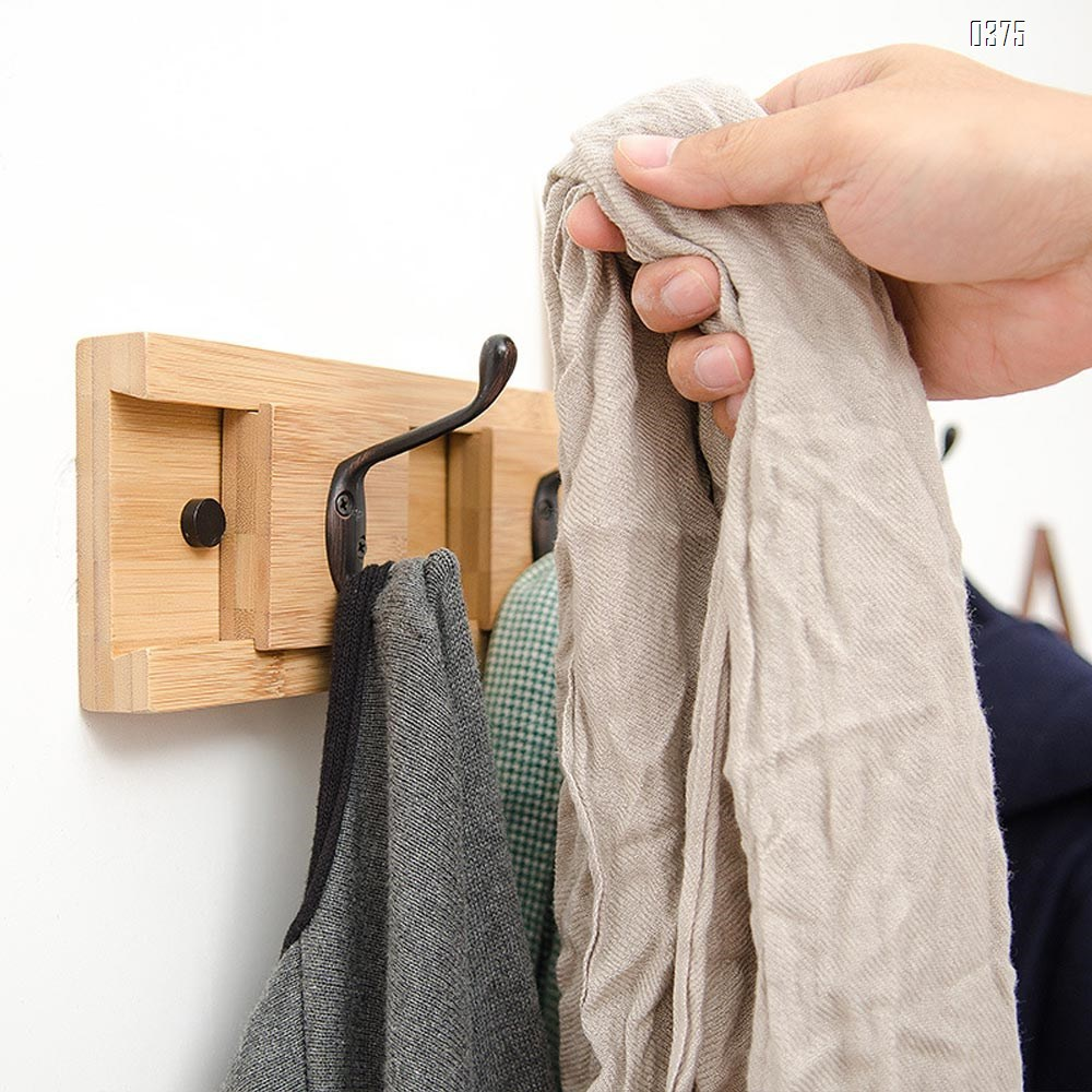 Bamboo Wall Mounted Slide Coat Rack  Shelf with 5 Rustic Hooks - Solid Bamboo Wood. Perfect touch for your Entryway, Mudroom, Kitchen, Bathroom