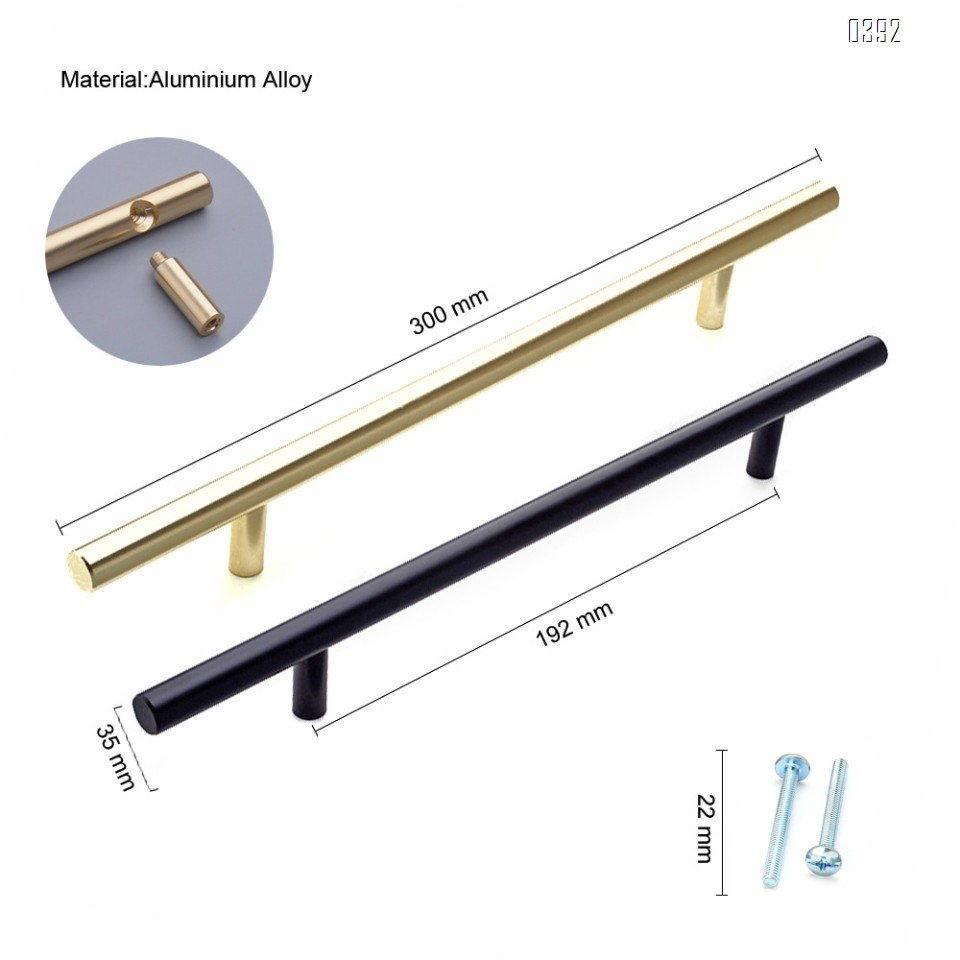 Cabinet Pulls Gold Black Cabinet Handles Drawer Pulls Aluminium Alloy Dresser Pulls Kitchen pulls for Cabinets 12 Inch Length, 7.5 Inch Hole Center