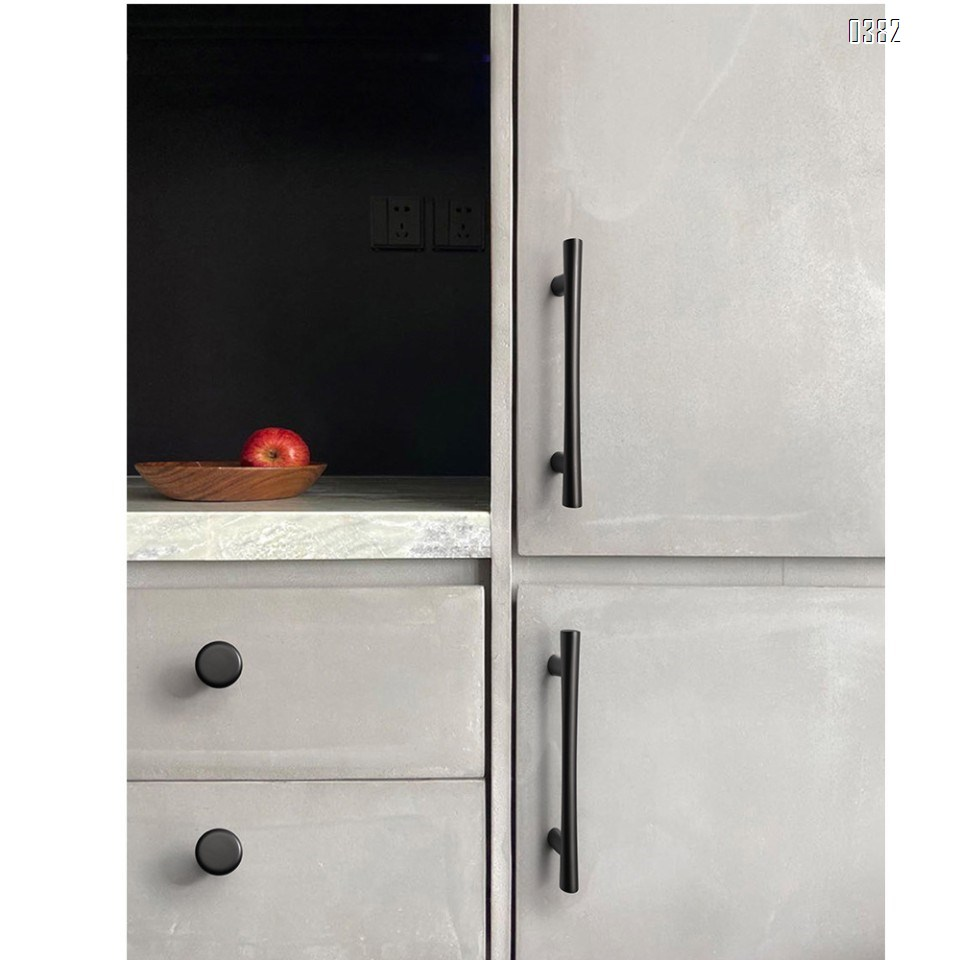 Plated Brushed Cabinet Pulls Matte Black Zinc Alloy Kitchen Cupboard Handles Cabinet Handles 192 mm Hole Center