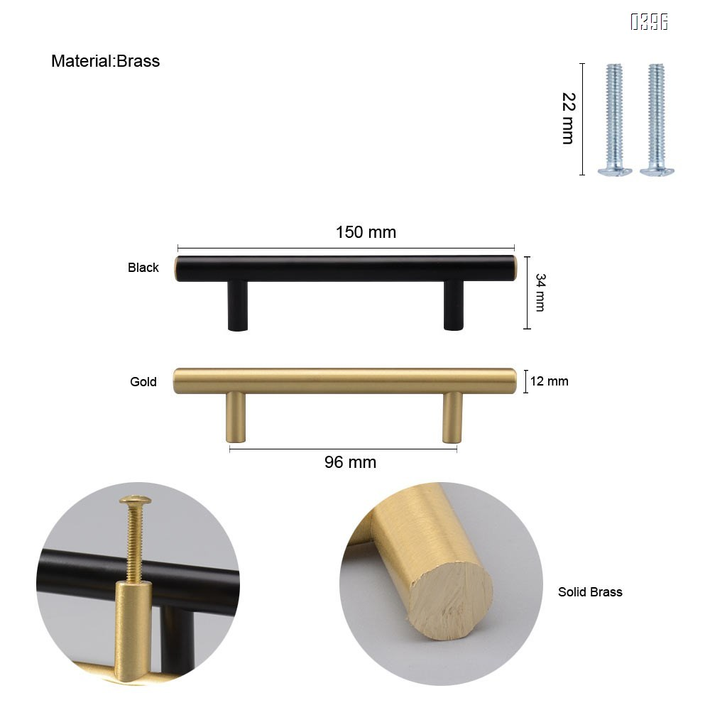 3.8 Inch(96mm) Hole Centers Cabinet Pulls Matte Black And Gold Drawer Pulls Kitchen Cabinet Handles Solid Brass T Bar Pulls for Drawer Flat Kitchen Hardware