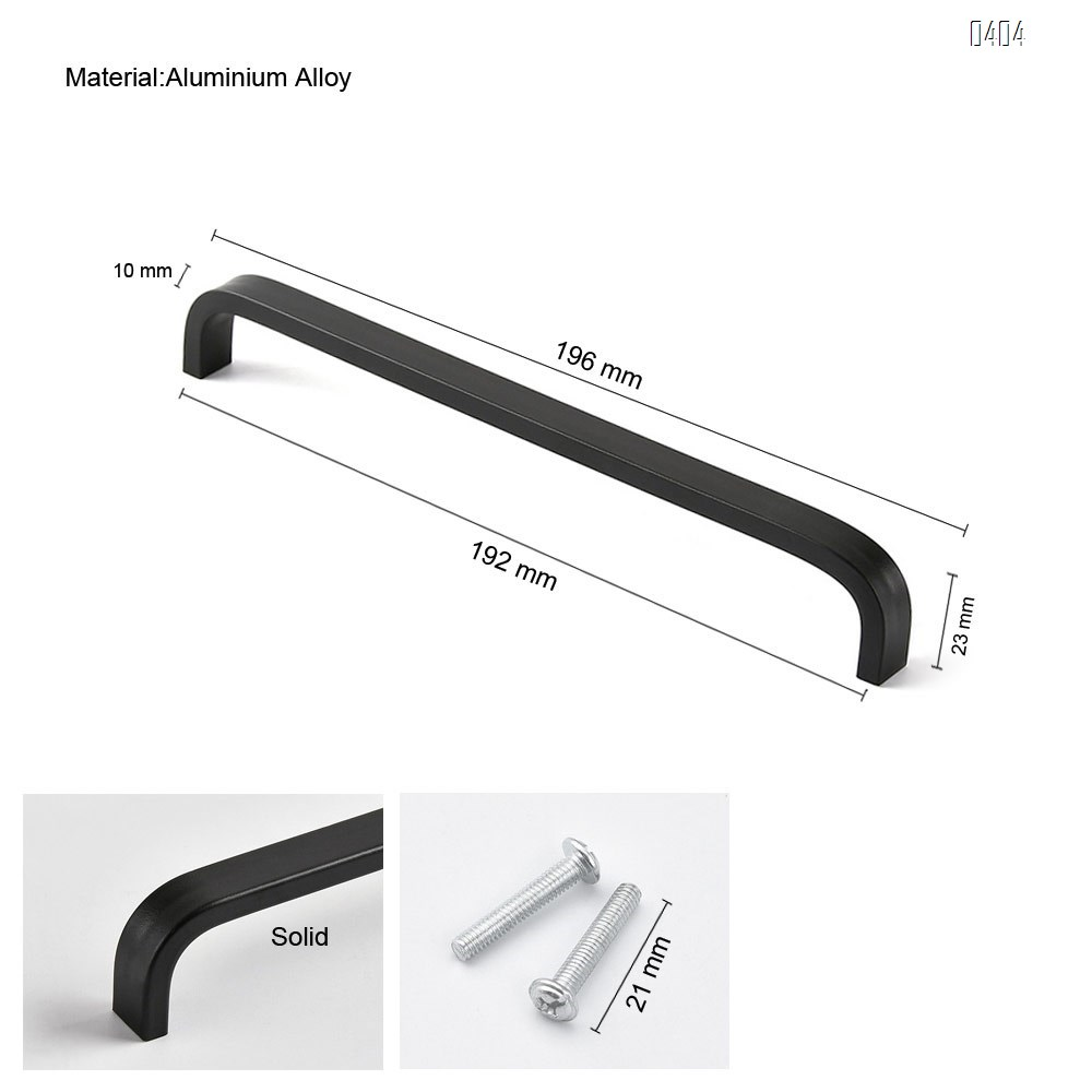 Aluminium Alloy Square Corner Bar Cabinet Door Handles Drawer Pulls Knobs Hole Centers 7.5 inch 192mm