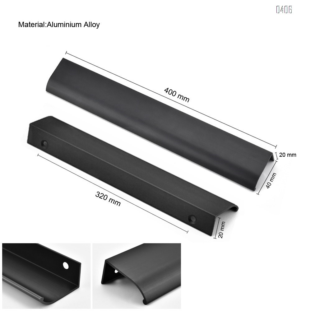 400mm 15.7 Inch Silver Back Mount Finger Edge Pull Concealed Handle for Home Kitchen Door Drawer Cabinet